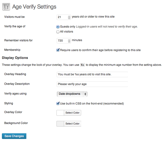 Age Verify WordPress Plugin