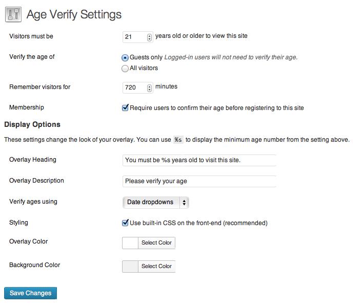 Age Verify WordPress Plugin